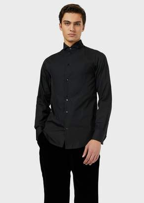 Emporio Armani Tuxedo Shirt In Poplin With Bib Front In A Honeycomb Weave