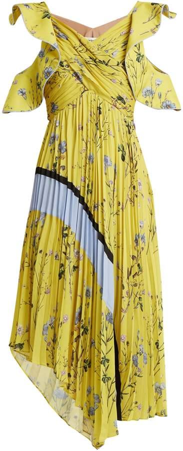 SELF-PORTRAIT Floral-print pleated-satin dress