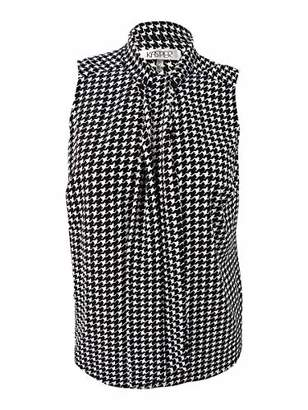 Kasper Women's Plus Size Houndstooth Printed Tie Neck Blouse