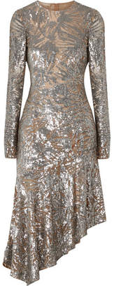 Michael Kors Asymmetric Sequined Stretch-tulle Gown - Silver