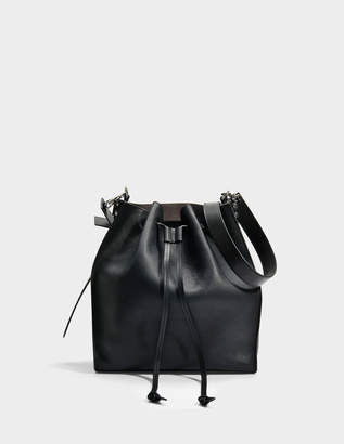 J.W.Anderson Drawstring Bag in Black Grained Goatskin Leather