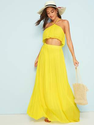 Shein Solid Pleated Cami Top With Maxi Skirt