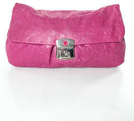 Marc By Marc Jacobs Marc By Marc Jacobs Pink Leather Silver Tone Fold Over Clutch Handbag In Dustbag