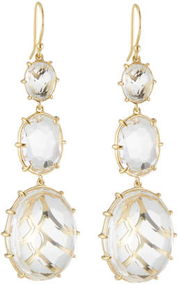 Ippolita 18k Gold Filigree 3-Stone Drop Earrings, Clear Quartz