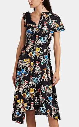 Jason Wu Women's Abstract-Floral Cotton Sateen Asymmetric Shirtdress - Black Mlti Size 6
