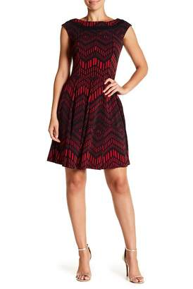 Gabby Skye Chevron Cap Sleeve Fit & Flare Dress