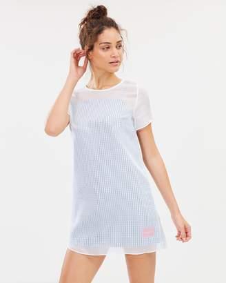 Calvin Klein Jeans Double Layer Sheer Short Sleeve Dress