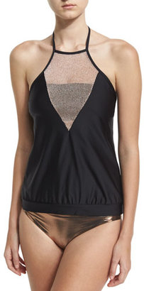 Luxe by Lisa Vogel Chain Reaction High-Neck Tankini Swim Top, Black $118 thestylecure.com