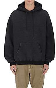 R 13 Men's Distressed Cotton Fleece Hoodie-Black