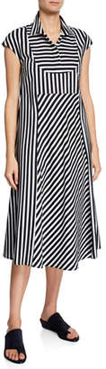 Piazza Sempione Cap-Sleeve Miter Striped Dress