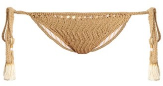 She Made Me Laharia Tie Side Crochet Bikini Briefs - Womens - Beige