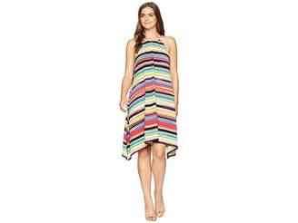 London Times Skyline Stripe Crepon Hanky Dress Women's Dress