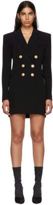 Balmain Black Cross-Over Six-Button Dress