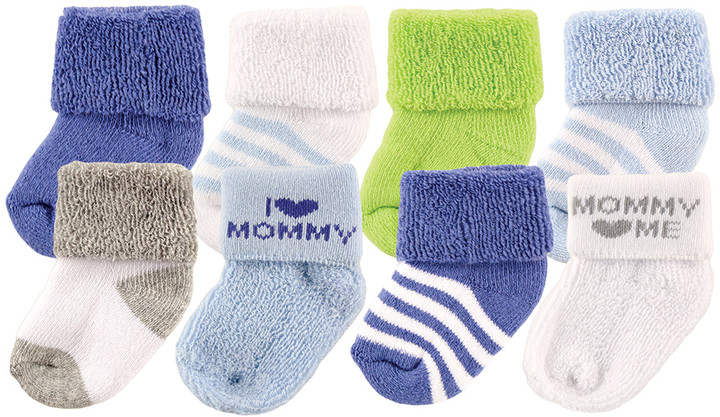 Blue & White Stripe 'I Love Mommy' Eight-Pair Socks Set - Infant