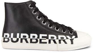Burberry Larkhall Logo High Top Sneakers in Black | FWRD