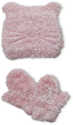Laura Ashley Newborn/Infant Girls) Two-Piece Pink Eyelash Knit Cat Hat & Mittens Set