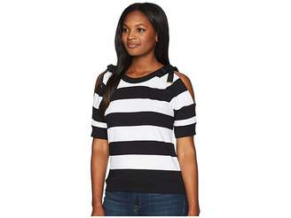 Lauren Ralph Lauren Striped French Terry Cold-Shoulder Top Women's Clothing