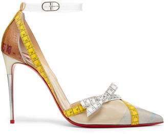 Christian Louboutin Metripump Measuring Tape Embellished Pumps - Womens - Beige Multi
