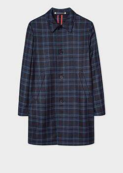 Paul Smith Men's Navy And Blue Check Wool-Blend Unlined Mac