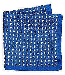Saks Fifth Avenue Penguin-Print Silk Reversible Pocket Square