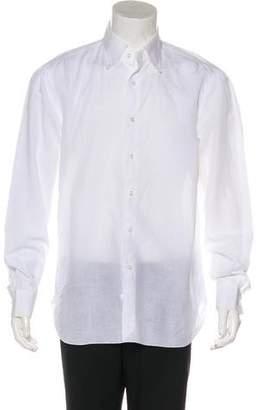 Isaia Linen-Bend Woven Shirt
