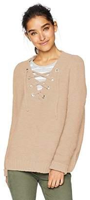 Jack by BB Dakota Junior's Hey Ms Carter Rib Stitch Lace-Front Sweater