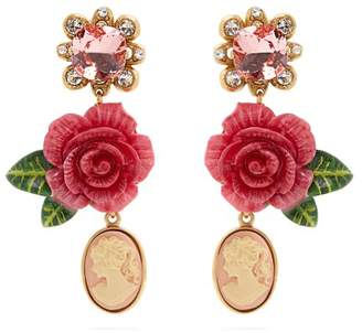 Dolce & Gabbana Rose And Crystal Drop Clip On Earrings - Womens - Pink