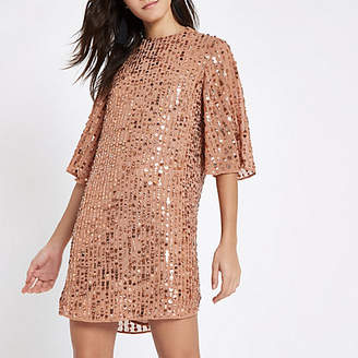 River Island Dark pink sequin swing dress