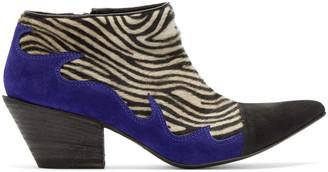 Haider Ackermann Black & White Zebra Hulan Boots $1,230 thestylecure.com