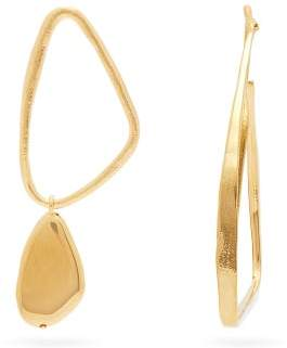 Givenchy Mismatched Drop Hoop Earrings - Womens - Gold