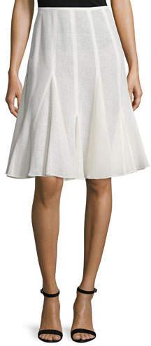 Michael Kors Collection Mid-Rise Linen Flirt Skirt, Ivory