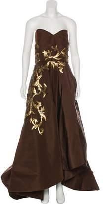 Oscar de la Renta Embellished Strapless Gown