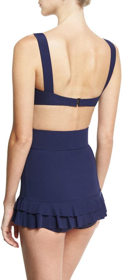 Michael Kors Self-Belted Two-Piece Skirted Bikini Set, Blue 4