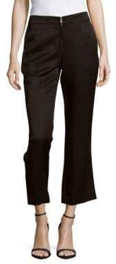 Sandro Linen-Blend Wide-Legged Cropped Pants
