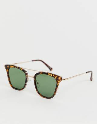 1f405526f2a1 Asos Design DESIGN retro sunglasses with tortoiseshell and gold detail  frame with green lenses