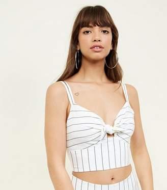 New Look White Linen-Look Stripe Tie Front Bralette