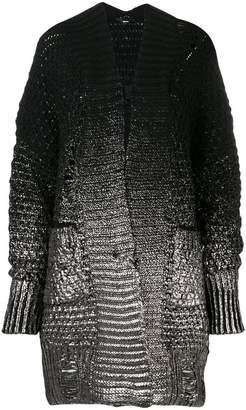 Diesel foil print chunky knit cardigan