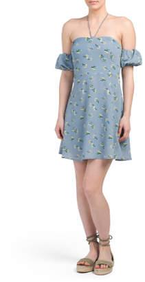 Juniors Off The Shoulder Chiffon Tunic Dress