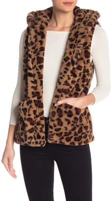 Love Tree Leopard Faux Fur Hooded Vest