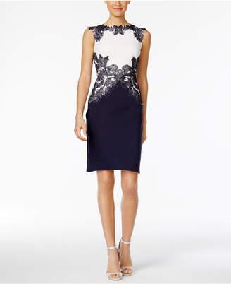 Tadashi Shoji Lace-Trim Scuba Dress $348 thestylecure.com