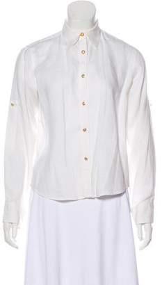 Ralph Lauren Logo-Embellished Linen Blouse