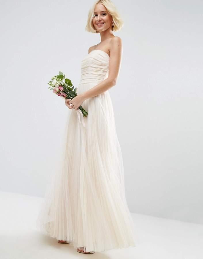 AsosASOS BRIDAL Ruched Mesh Bandeau Maxi Dress