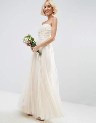 Asos Edition BRIDAL Ruched Mesh Bandeau Maxi Dress