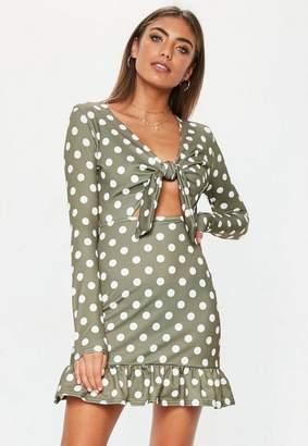 Missguided Khaki Polka Dot Ruffle Hem Dress