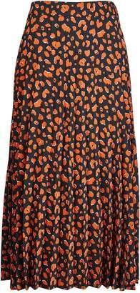 Dorothy Perkins Womens Brown Cheetah Print Pleated Midi Skirt