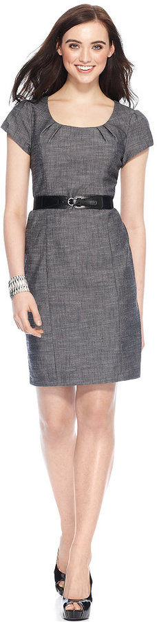 Amy Byer Dress, Cap Sleeve Belted Textured Sheath