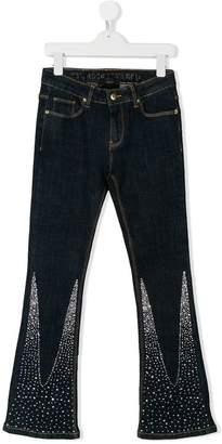 John Richmond Junior TEEN rhinestone embellished flared jeans