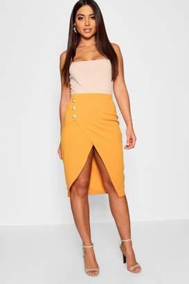 boohoo Gold Button Asymetric Split Front Midi Skirt