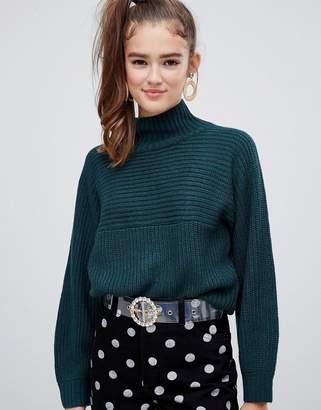 Monki high neck ribbed oversized sweater in dark green