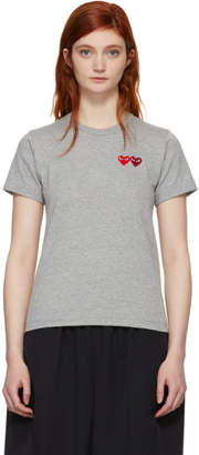 Comme des Garcons Grey and Red Double Heart T-Shirt